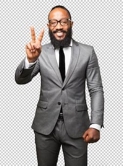 Деловой черный человек победы жест