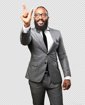 画面に触れるビジネス黒人男性