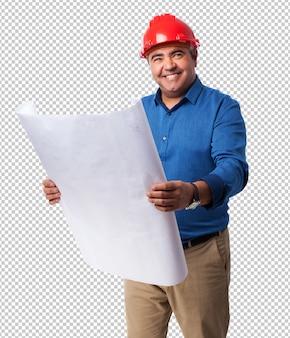 彼のプロジェクトについて考えている建築家の肖像画