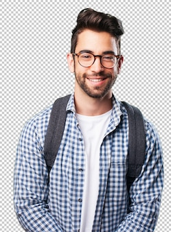 若い男の笑みを浮かべて
