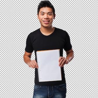 彼のノートを保持している若い中国人男性