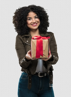 若い女性の贈り物を保持