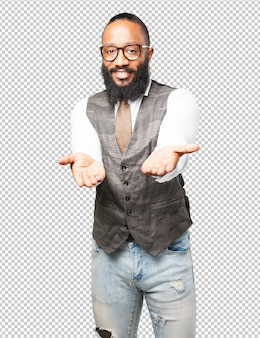 Деловой черный человек, предлагая жест