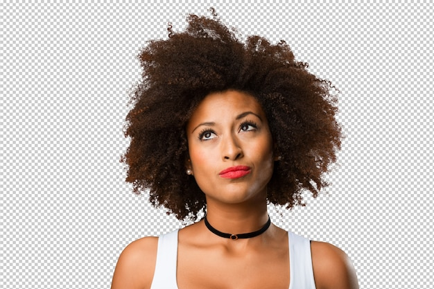 考えて若い黒人女性の肖像画