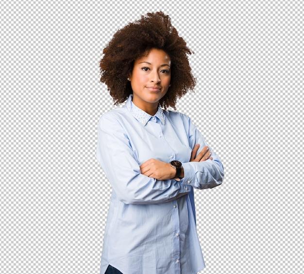 若い黒人女性交差腕