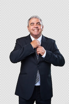 Старый бизнесмен с костюмом