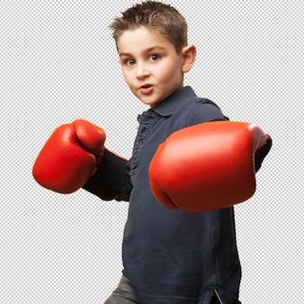 赤いボクシンググローブと戦う小さな子供
