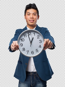 クロックを持つ中国人の男