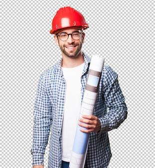 建築家の男は笑っている