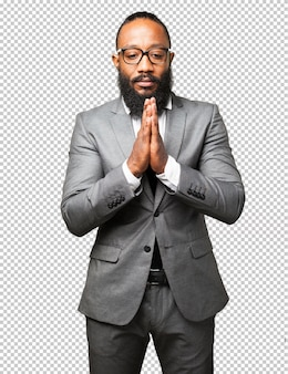 ビジネス黒人祈る