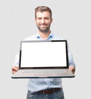 Красивый молодой человек с ноутбуком