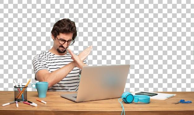 Молодой бородатый графический дизайнер. знак отклонения