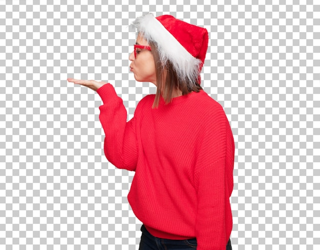 Молодая красивая женщина рождественские концепции.