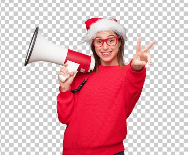 若い美しい女性のクリスマスのコンセプト。編集可能な背景