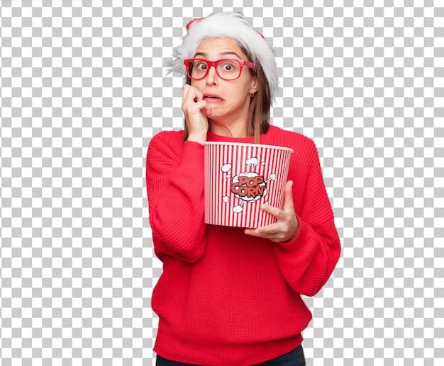 Молодая красивая женщина рождественские концепции. редактируемый фон