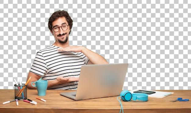 若いひげのある男のグラフィックデザイナー。ジェスチャーを指示して表示する