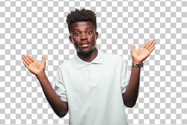 若いクールな黒人のサイン。単色の背景に対して人を切り取る
