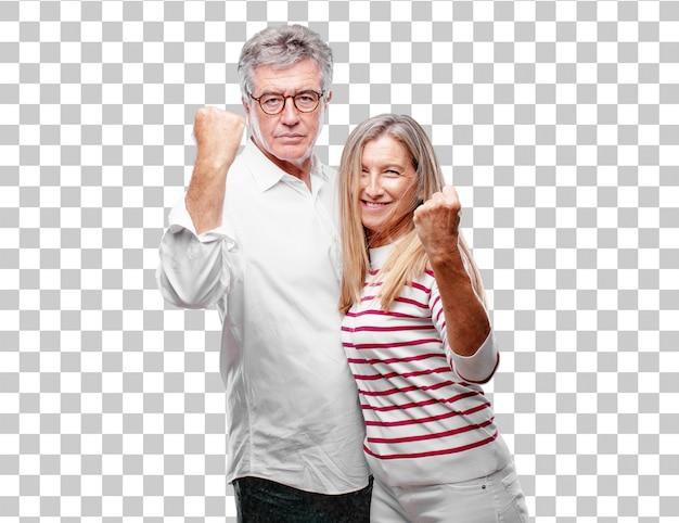 誇りに思っているシニアなクールな夫と妻