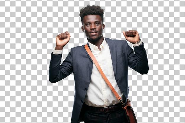 Молодой черный бизнесмен, улыбаясь и танцы для удовольствия