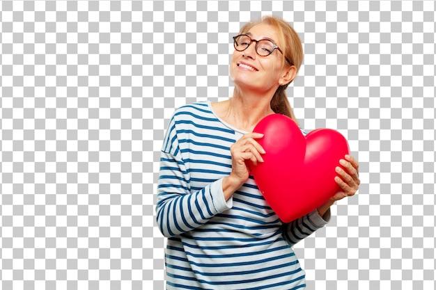 Старший красивая женщина с формы сердца. концепция любви