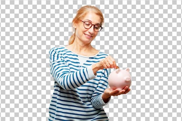 貯金とシニアの美しい女性