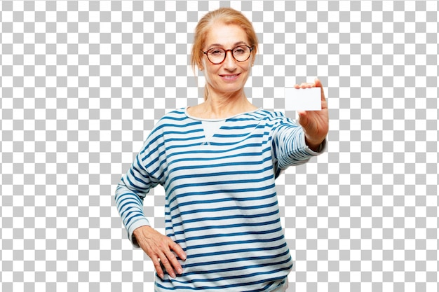 訪問カードを持つシニアの美しい女性