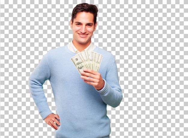若いハンサムな日焼け男の支払い、購入またはお金の概念