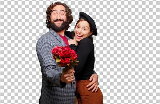 Молодая пара празднует день святого валентина