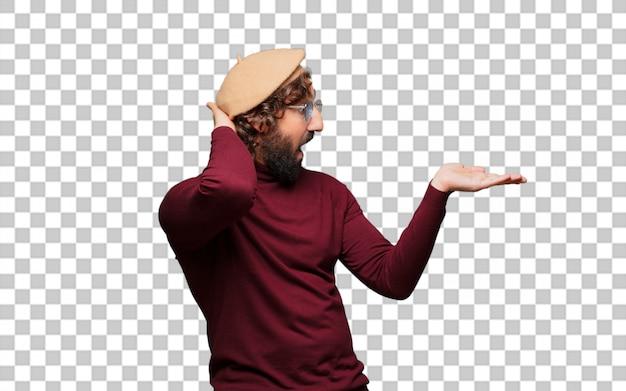 ベレー帽を指すフランスの芸術家