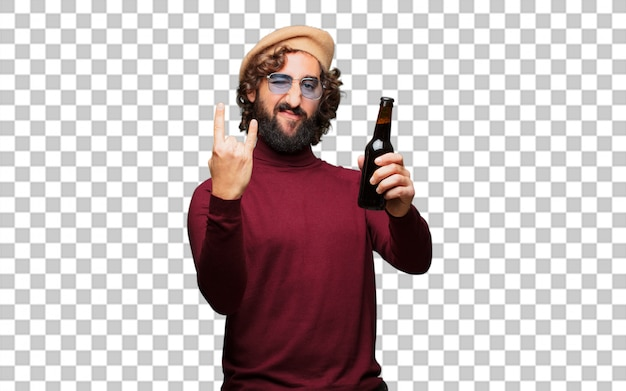 ビールを握っているベレー帽を持つフランス人アーティスト