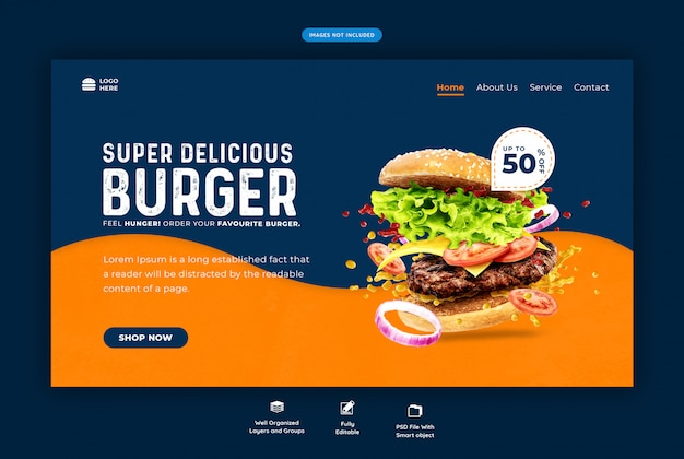 Фаст-фуд бургер веб-шаблон