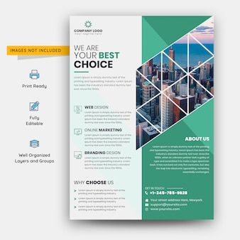 Зеленый и белый бизнес флаер шаблон