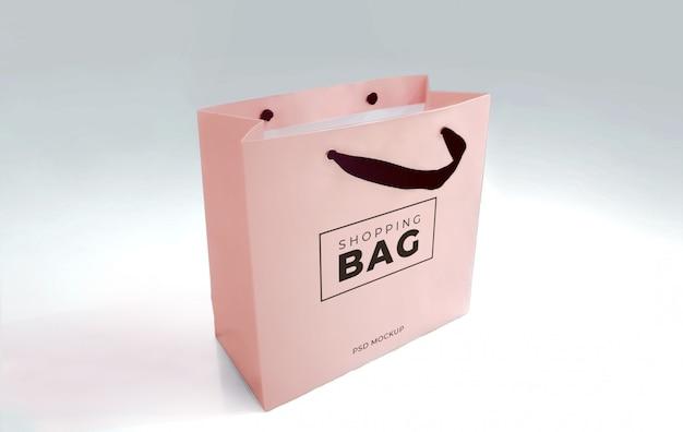 Шаблон макета реалистичный бумажный пакет для покупок