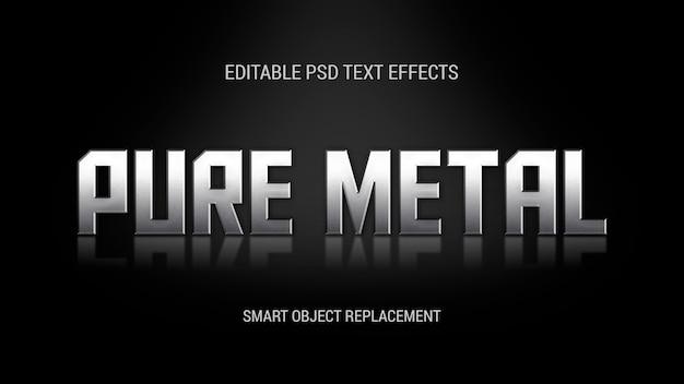 反射のある立っている金属のテキスト効果