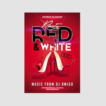 Красный и белый флаер вечеринка шаблон
