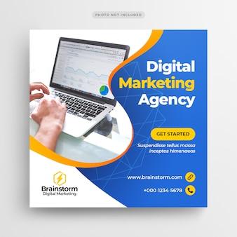 Цифровой бизнес маркетинг социальные медиа баннер или квадратный флаер