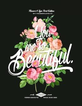 Ручной обращается стиль цветочный плакат