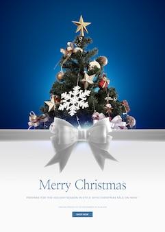メリークリスマスのグリーティングカードテンプレート