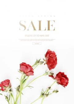 Вертикальная распродажа баннер шаблон с красивыми цветами