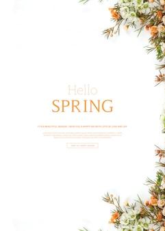 Привет весна, красивый вертикальный шаблон открытки с цветами