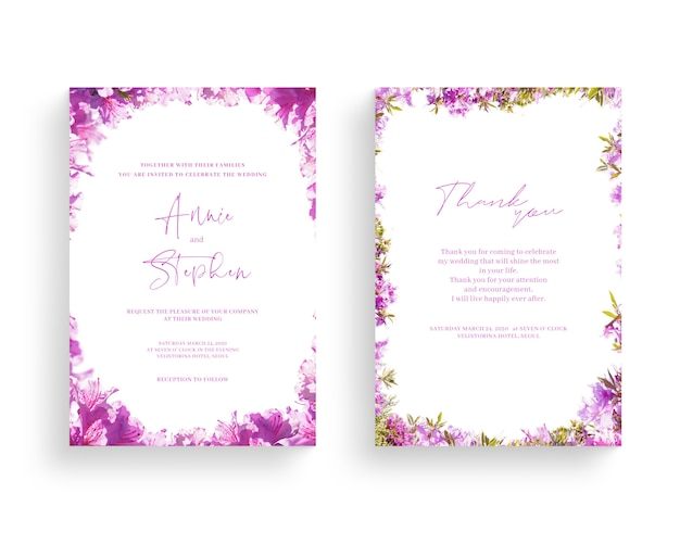 美しい春の花のフレーム、招待状、ウェディングカード、感謝の挨拶、