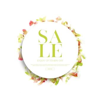 春シーズンのバナーとフレーム、美しい花、招待状の背景を持つテンプレート