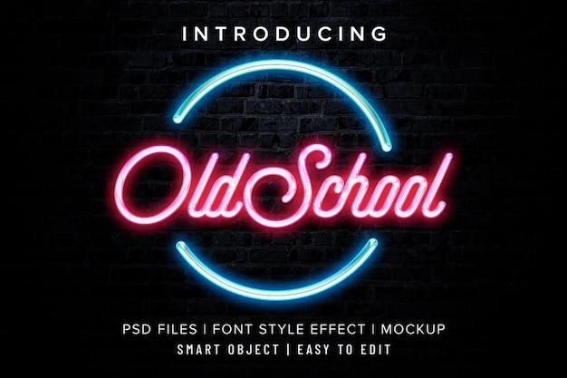 Старая школа неоновый шрифт эффект стиль макет