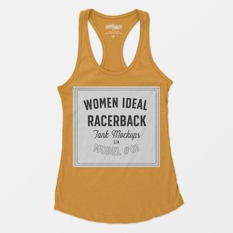 女性の理想的なレーサーバックタンクモックアップ