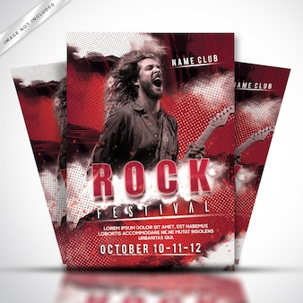 Шаблон плаката или флаера рок-фестиваля