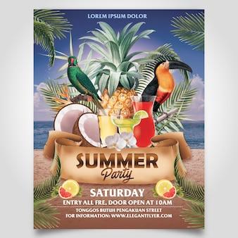 ココナッツツリーとパイナップルチラシテンプレートの編集可能なレイヤーを備えたサマービーチパーティー