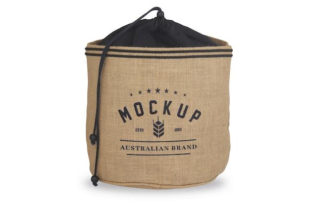 ロゴのモックアップが付いた黄麻布の袋