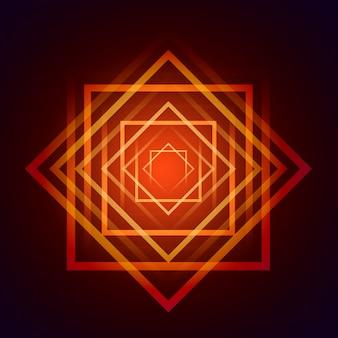 橙色と赤色の四角形の背景