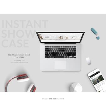 Ноутбук и смартфон на сером фоне макет