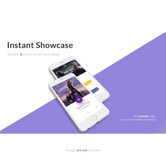 Смартфон на фиолетовом и белом фоне макет